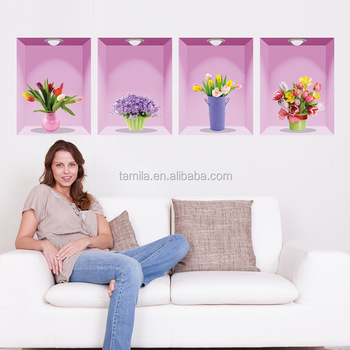 Flower Vase Wall Stickers 3D Floral Home Decor Bedroom Living Room Decoration