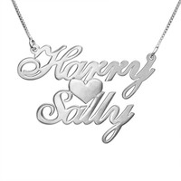 Unique Silver Chain Personalize Jewelry Custom Engraved Necklace Private Double Name with Heart 2016 New Design fashion necklace