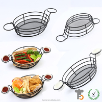 Professional Eco- friendly Fast Food Metal Wire Bread Chips Storage Basket With Tow Condiment Bowl