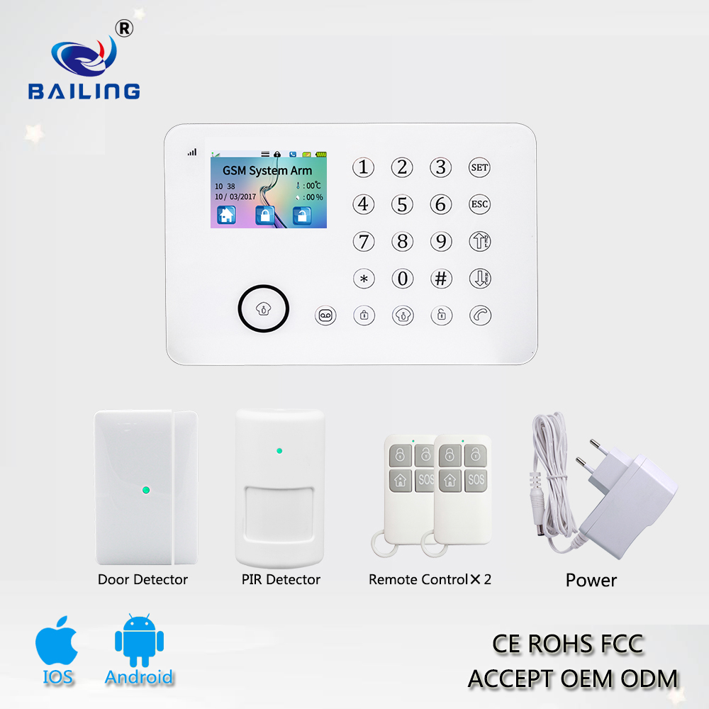 868 mhz PSTN RFID TFT screen temperature humidity security gsm alarm system z wave smart home smartphone with motion sensor fire