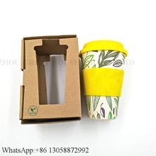 Take Away Bio Bamboo Fiber Coffee Cup With Fashion Color Box Packing