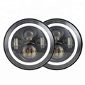 "high quality h4 round 7"" jeep cherokee headlights angel eyes halo ring 45w led hi/lo beam for jeep headlight"