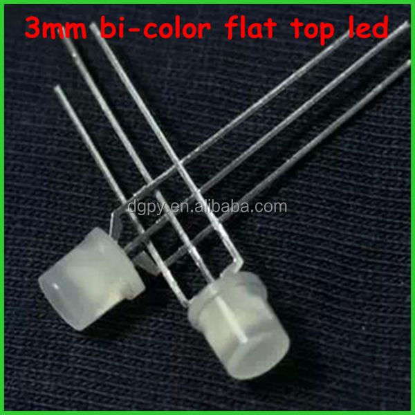 3mm bi-color flat top led red yellow red white led