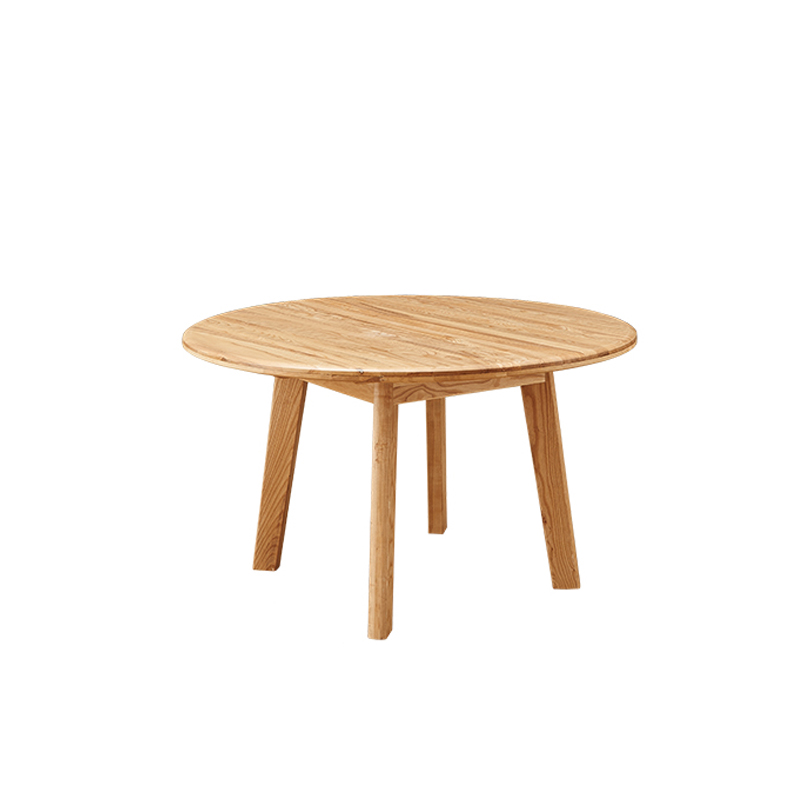 Framhouse Style MDF Veneer Top Solid Wood Leg Round Dining Table