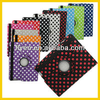 For iPad 4 Retina 3 2 360 Rotating Polka Dot Smart Cover Case Stand Rose Red