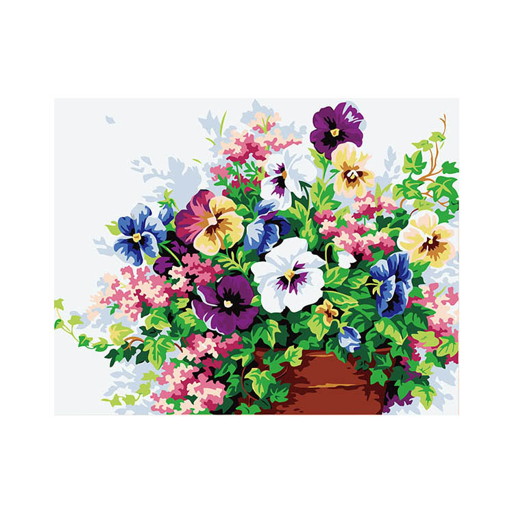 Latest product unique design DIY framed oil painting flower oil painting