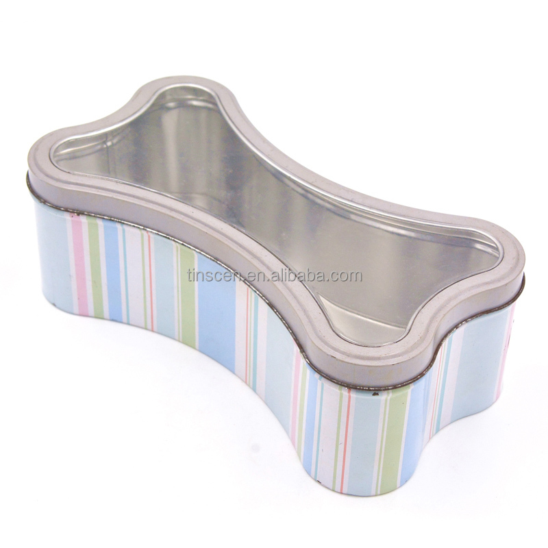Bone shaped tin box with PVC window