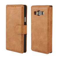 Manufacturer Mobile Phone Book Style Retro Vintage Leather Wallet Stand Flip Cover Case for samsung A7 A3 with card clots 285CA