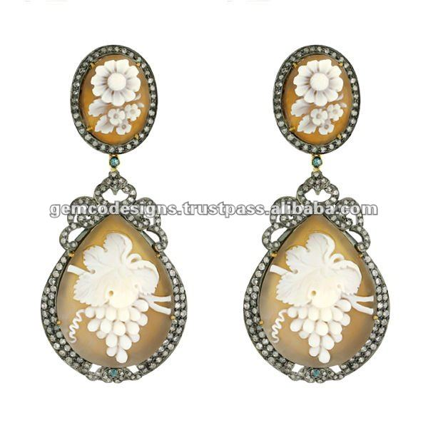 Designer Agate Cameo Victorian Dangle Earrings Jewelry