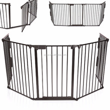 Fireplace Safety Guard Metal Play Pen/Barrier Safety Gate for Kids, 310 cm Length, Black