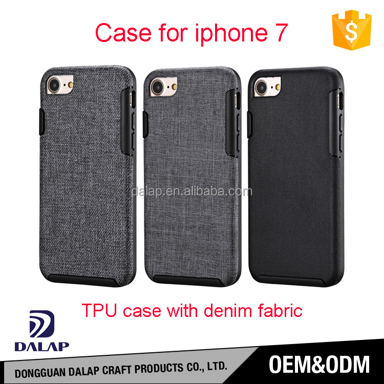 MOQ=100pcs! Newest unique custom tpu demin fabric leather mobile phone case for iphone 7