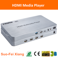 4K HDMI android tv box full hd 4 ways media player/splitter/switch/hub with lan port