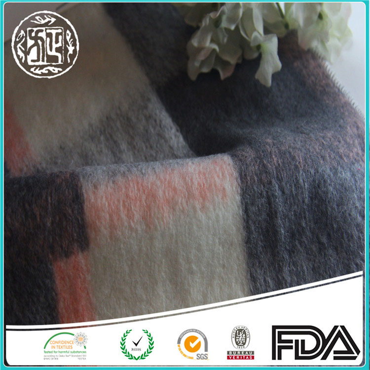 Shaoxing Factory Direct Selling Plaid acrylic wool fabric For Winter Coat