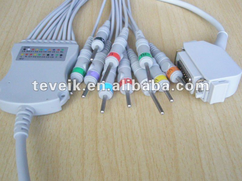 Hellige/Siemens ECG Cable with Integrated 10 Leadwires DIN 3.0 AHA