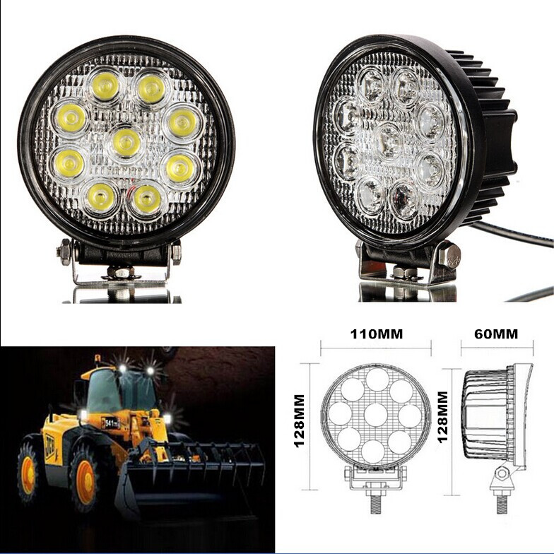 27W LED work flood square/round Light, 12V 24V 27w 12v led lighting Off road Truck 4x4 Boat SUV lamp
