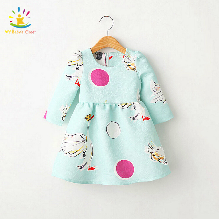 Lovely 2015 Designer Kids Autumn&Winter Clothes Baby Girl Clothes Girls Long Sleeve Swan Pattern Blue Dress For Children 2-8Y