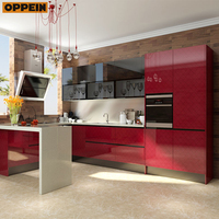 Dubai Exhibition Red Acrylic Wooden Kitchen Cabinet