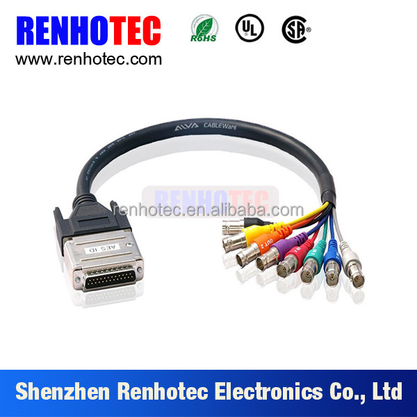 audio video conncetor wire cables with D sub plug bnc jack
