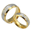 18K gold rings for his and her fashion stainless steel wedding
