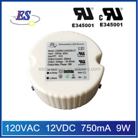 ES 9W 120vac 12vdc 750mA constant current triac dimmable led driver power supply with UL CUL IP65