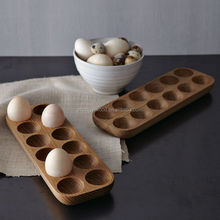 Solid Pine 12 Egg Holder Storage Rack, Wooden Egg Crate, Brown