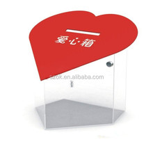 Wholesale modern exquisite love heart shape acrylic donation box