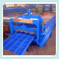 Steel glazed tile roll forming machine / metal roofing tiles making machine input 1250mm