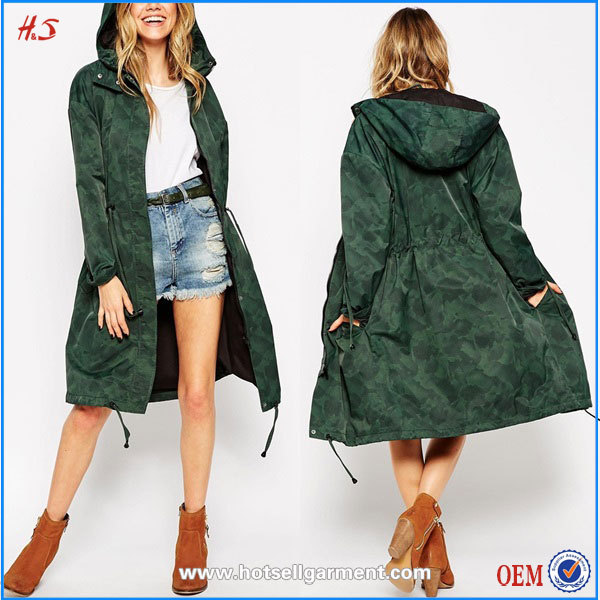 Alibaba China Women Wholesale Camouflage Clothing Trench Coat Rain Coat Parka Woman Wear In Camo Print