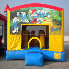 Inflatable new minion combo bouncer,funny commercial inflatable smurfs combo with bounce and slide. K2082