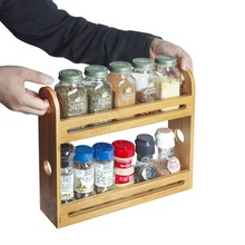 Unique double tiers spice rack,bamboo kitchen rack