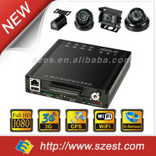 High Quality Multi 4/ 8 channel mobile car dvr Night Vision Audio Camera for Bus free CMS Software Tracking System