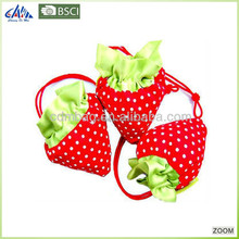 Fashion fruit shape folding polyester shopping bag with small pouch