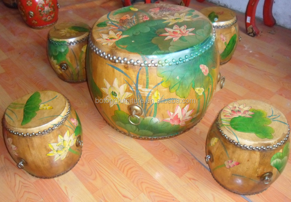 Chinese painted drum table and stool LWD379