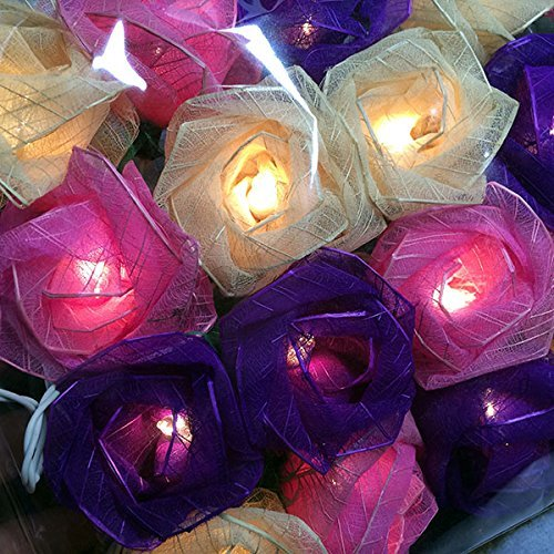Battery Powered Mixed Purple Rose Flowers LED Fairy Light String for Wedding,home,bedroom decoration