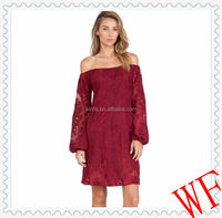 Hot! European elegant top brand loose red lace off-shoulder long puff sleeve dress