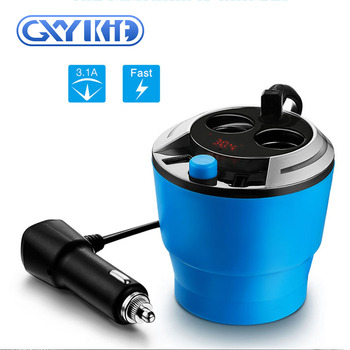GXYKIT Multi function 2 usb port car charger coffee cup design with cigarette lighter