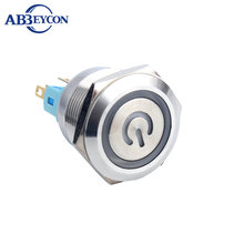 F321 28mm IP67 Waterproof Latching Stainless Steel 12V blue ring led Illuminated Push Button Switch