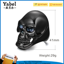 Wholesale Stainless Steel Punk Style Black Evil Skull Head Rings For Men