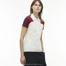Ribbed polo collar zip neck stretch cotton knop pique lady polo shirt