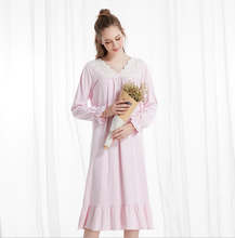 Fashion Women Cotton V-neck lace Nightgowns Home Dress Sleepwear NightGowns Comfortable Nightdress Indoor Clothes