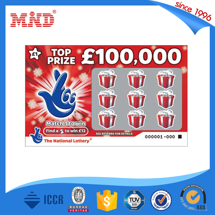MDPC1229 China factory seller Free design CMYK printing lottery scratch tickets card