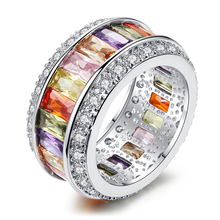 Bling Iced Out copper Cubic Zircon Multi-colored rainbow <strong>Ring</strong> for party