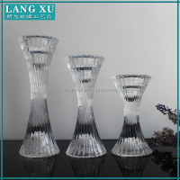 Set of 3 crystal bulk glass tall pillar candle holders