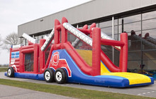 inflatable obstacle run fire truck /inflatable obstacle course run fire truck /inflatable obstacle course slide fire truck
