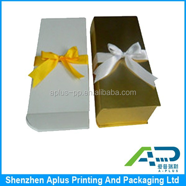 Best sell Good price foldable gift box, Own design ribbon closed foldable paper box, foldable paper packaging box