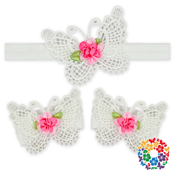 Infant Girls Boutique 1 Headband And 2 Anklet Embroidery Butterfly Bow Headband Set