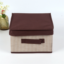 Cute Covered Folding Fabric Sundries Storage Box With Lid Handle