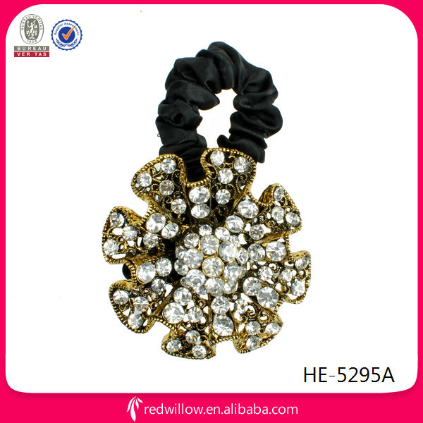 Fancy glitter diamante metal flower hair tie for ladies