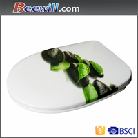 Two piece floor mounted polished toilet seat with soft close damper