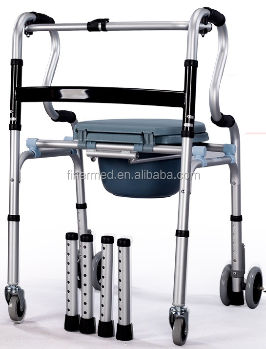 disabled folding walker commode chair with wheels